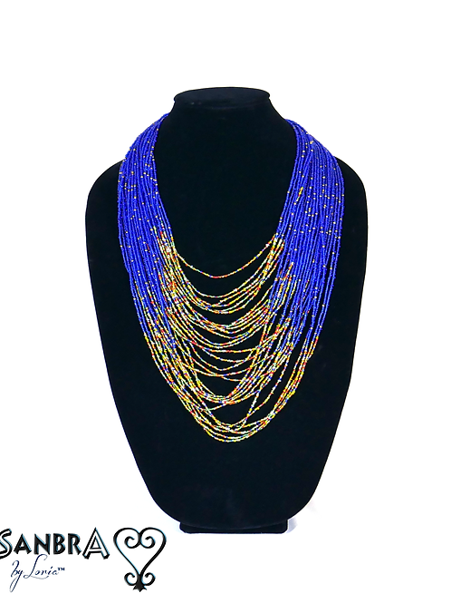 Multi-Color Beaded Chain Tribal Necklace