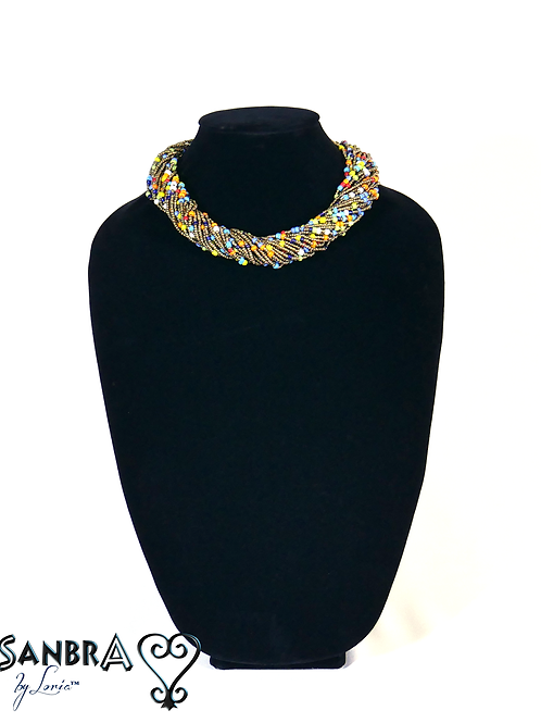 Multi-Color Corded Tribal Necklace