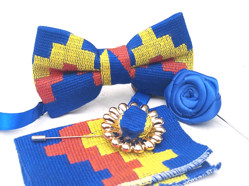Blue, Yellow and Orange Kente Bow Tie Set
