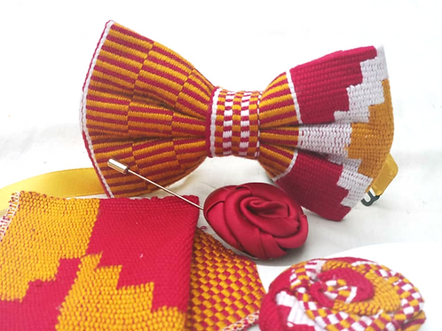 Orange, Red, White and Yellow Kente Bow Tie Set
