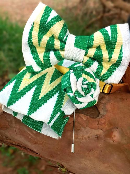 Green, White and Yellow Kente Bow Tie Set
