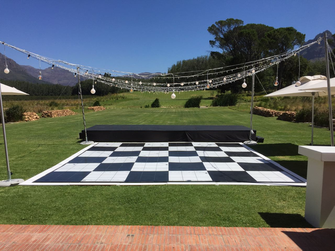Checkered tiled dance floor with upderfloor