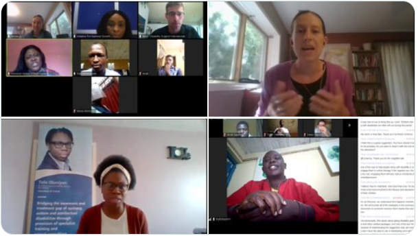 Screenshot of several meeting participants talking and reacting
