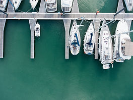 Drone UAV Photography Boats in a habour