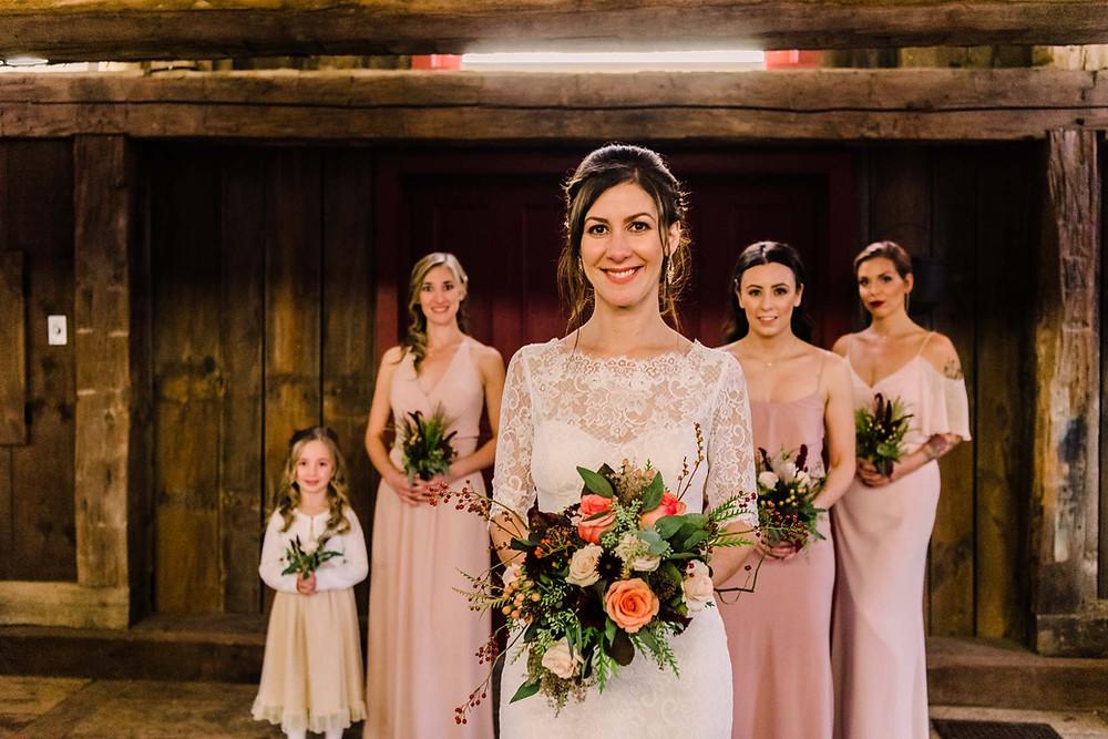 Bride and bridesmaids at Abraham Erb Grist Mill, Waterloo, Ontario