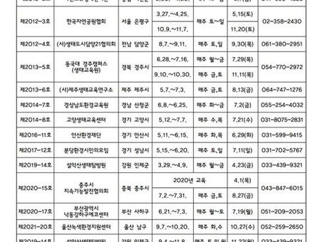 [양성교육] 2021년 자연환경해설사 양성교육 일정_0826