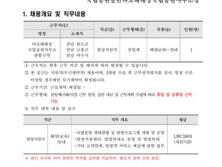 다도해해상국립공원 현장지원직 해설(교육)·안내 모집 공고