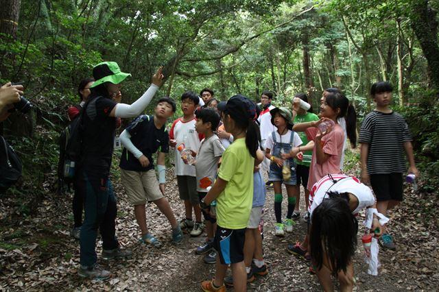 제주 조천읍 선흘1리 동백동산을 찾은 어린이들이 마을주민들이 준비한 프로그램에 참여하고 있다. 환경부 제공