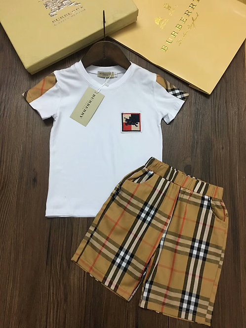 [Burberry ]#버버리 키즈 티셔츠+반바지 세트 K02064340