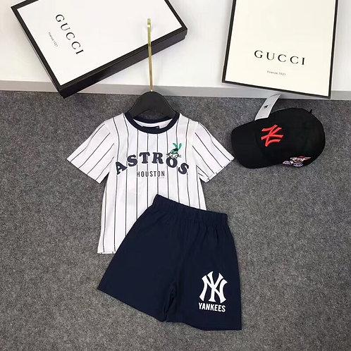 [MLB ]#뉴욕양키즈 티셔츠+반바지+모자 3종세트 K08064336