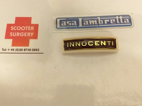 Innocenti name plate for horn casting