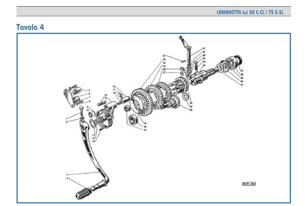 Lambretta Lui starter shaft