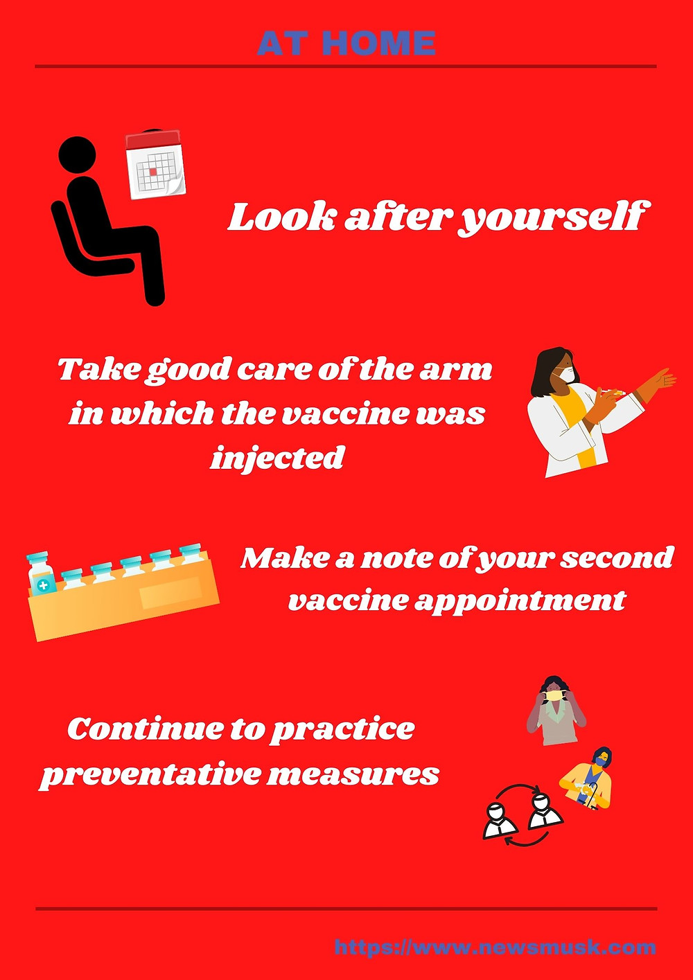 guidelines to follow at home after Covid Vaccination @newsmusk