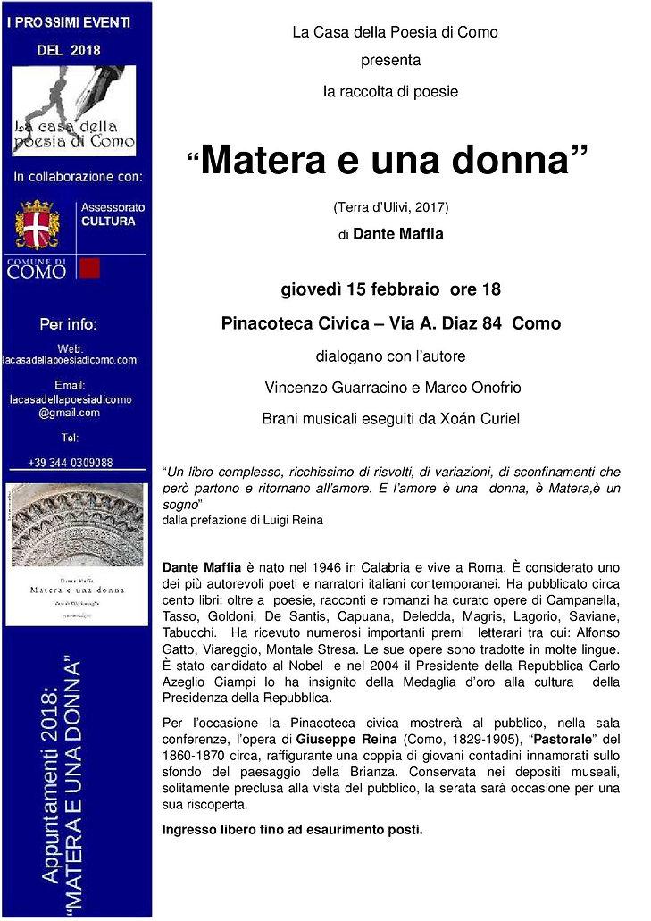 """Locandina presentazione """"Matera e una donna"""""""