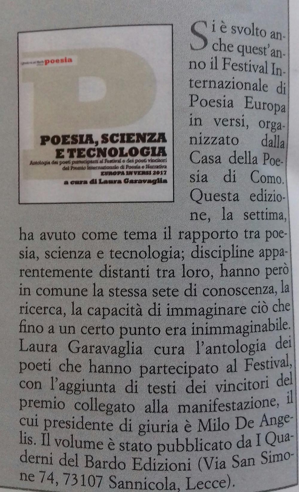 Antologia Europa in versi 2017 su Poesia
