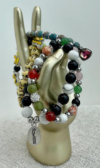 Woman's hand-made bracelets