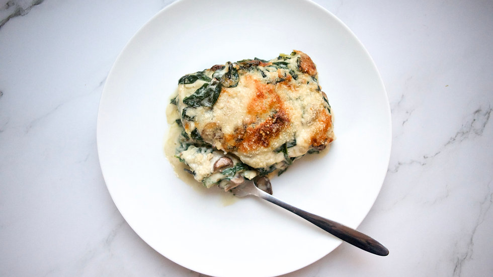 Lasagna with chestnut mushrooms and spinach.