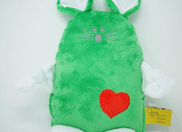 Le SOURICEAU vert kelly, blanc, coeur cerise