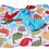 Thumbnail: PLAID/COUVERTURE oiseaux, cerise, turquoise