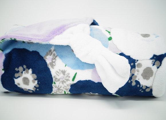 Plaid, blue flowers, lila, blanc