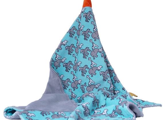 PLAID/COUVERTURE gris, safari bleu, orange