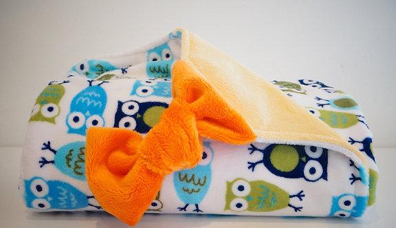 Plaid/Couverture hiboux bleu, jaune, orange
