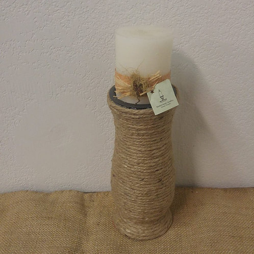 Jute Candle Holder with Battery Operated Candle
