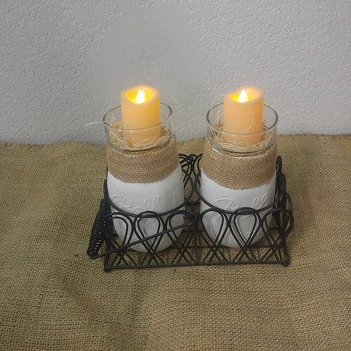 Wire Basket with Jar Candle's