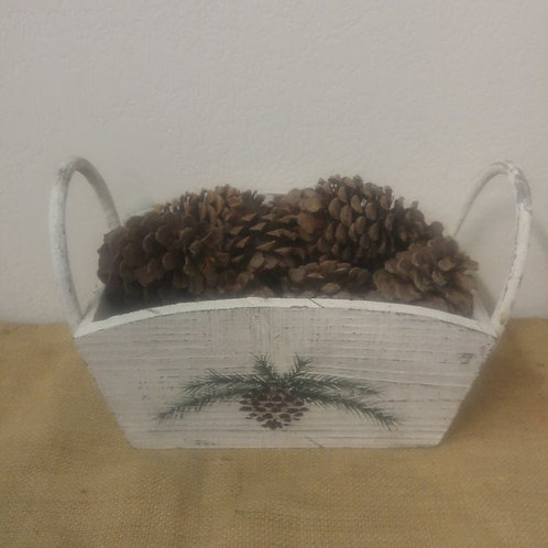 Rustic Wood Basket with Pine-Cone's