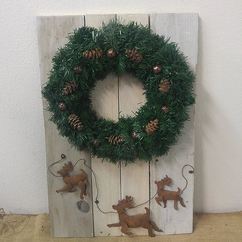 Fence withr Rustic Reindeer and Wreath