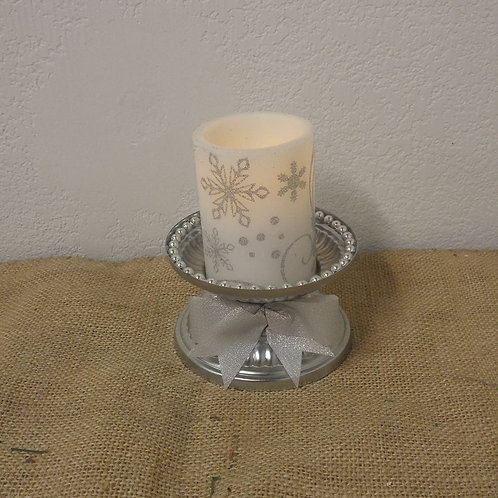 Battery Operated Candle on Silver Pedestal