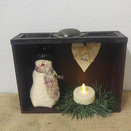 Snowman with Battery Operated Candle