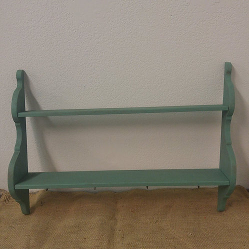 Green two tiered shelf with cup hooks