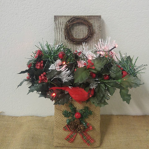 Rustic Burlap Christmas with lights