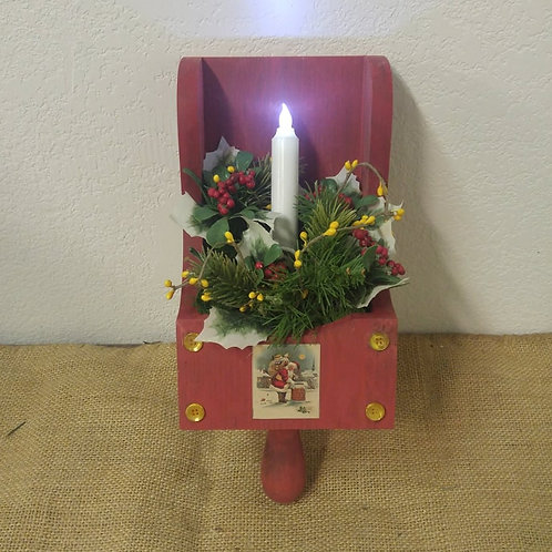 Christmas Wall Scoop with battery operated candle
