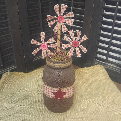 Rustic Jar with Flowers