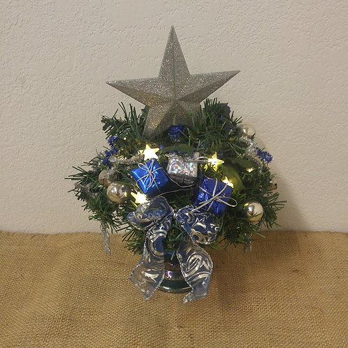 Blue and Silver Lighted Christmas Arrangement