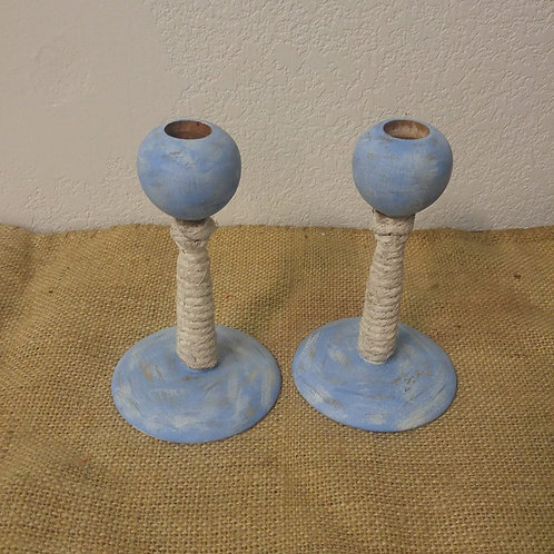 Pair of Funky Blue Candle Holder's