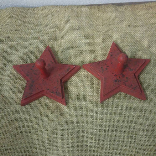 Pair Wooden Red Star Hooks