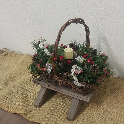 Christmas Arrangement with Battery Operated Candle