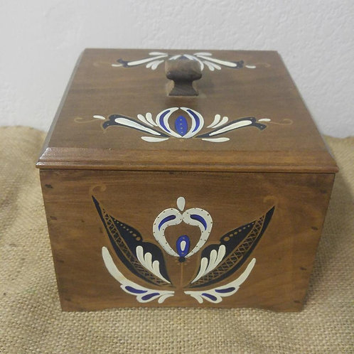 Tole Painted Wood Box