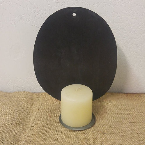 Primitive Tin Candle Holder with Candle