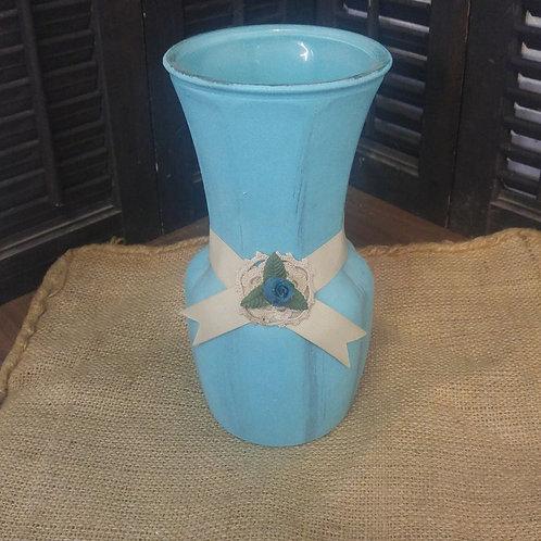 Blue Chalk Paint Vase