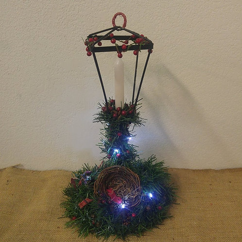Lighted Candle Holder with Bird's Nest