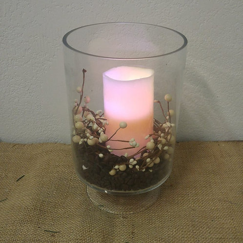 Battery Operated Candle in Glass Vase