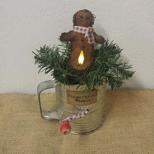 Gingerbread Sifter with Battery Operated Candle