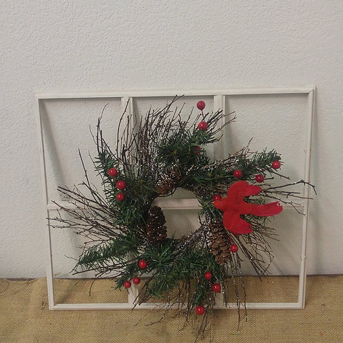 Wooden Window with Cardinal and Wreath