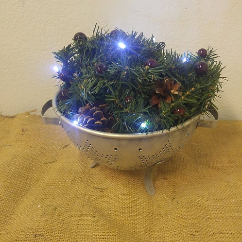 Colander with Christmas Greenery and Battery Operated Lights