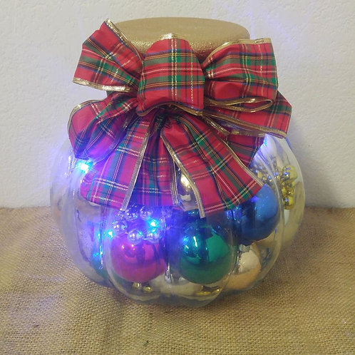 Glass Jar with Christmas Ornaments and Blue Lights