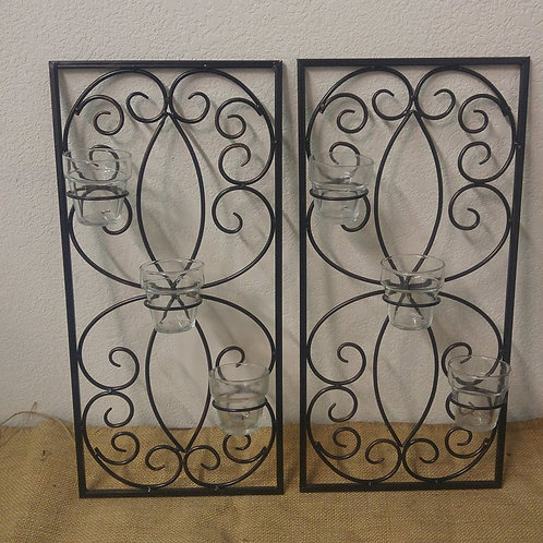 Pair of Black Metal Wall Candle Sconces
